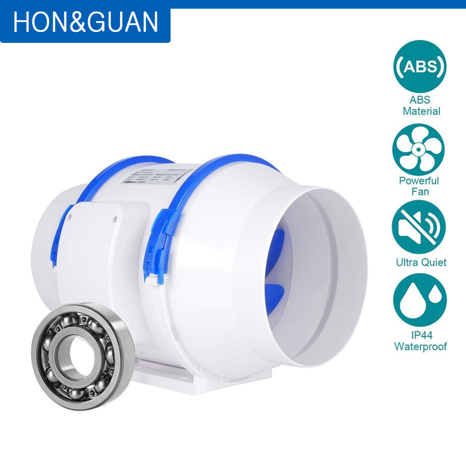 Hon&Guan 110V Inline Fans,  6'' (ø150mm) Inline Duct Extractor Fan Max Airflow 530m3/h For Bathroom, Greenhouses, Hydroponics