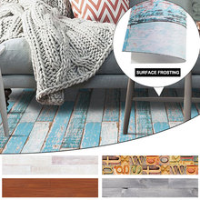 Grinded Surface 1 Roll Simulated Wood Grain Background Floor Sticker Tile 3D Kitchen Removable Wall Stickers Waistline