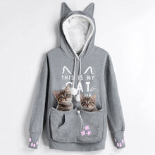 Kenancy amantes do gato hoodies canguru cão animal de estimação pata emboridery pullovers afago bolsa moletom bolso animal orelha com capuz outwear(China)