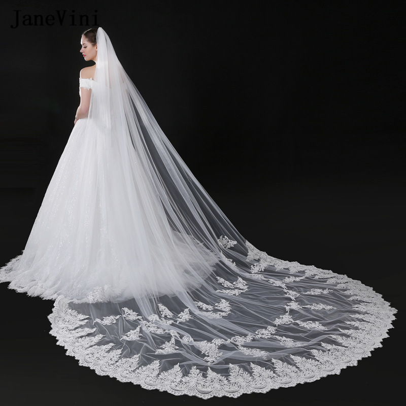 JaneVini 2019 Vintage Cathedral Long Ivory Wedding Veils Lace Appliques Edge Soft Tulle Bridal Veils with Comb Voile 5M Mariage