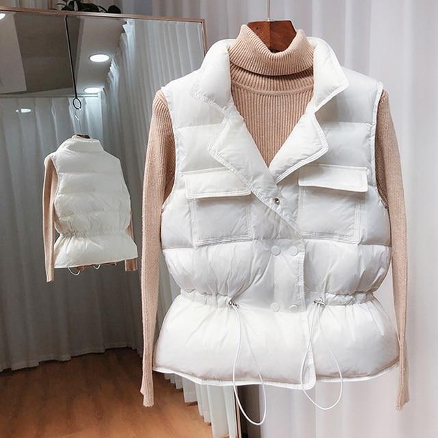 2021 New Ultra Light Down Vest Women Short Vest Windproof Lightweight Warm Waistcoat Female White Duck Down Down Coat Sleeveless 5