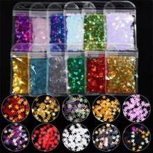 1 saco de natal flocos de neve estrela laser prego lantejoulas holográficos coloridos 3d flocos fatias paillette natal arte do prego decorações