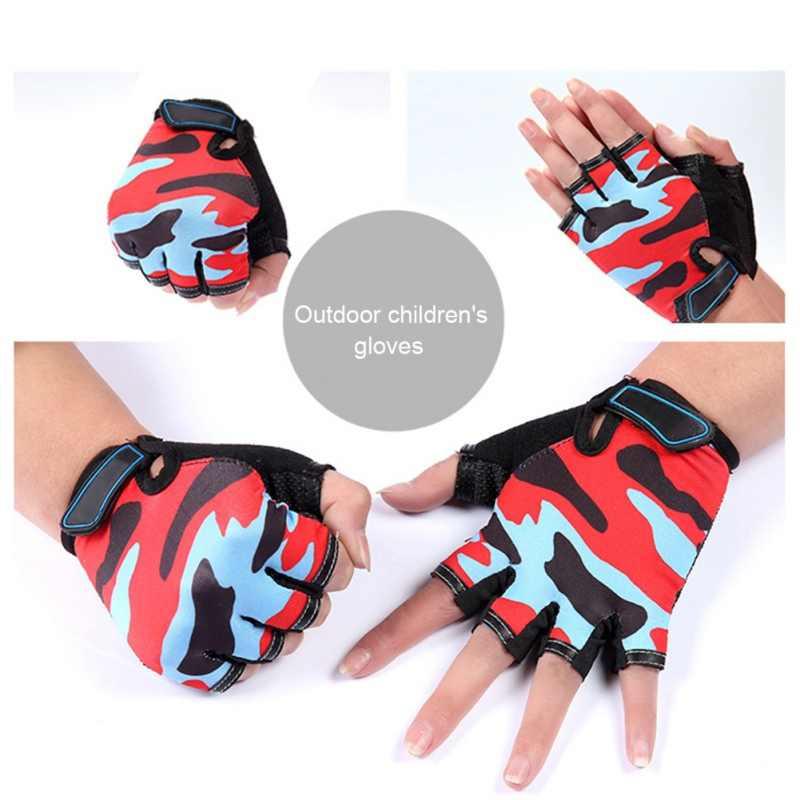 2020 guantes de camuflaje para niños de medio dedo para ciclismo, bicicleta, antideslizante, antideslizante, amortiguación, para niños, Chico, MTB, guantes para montar en bicicleta