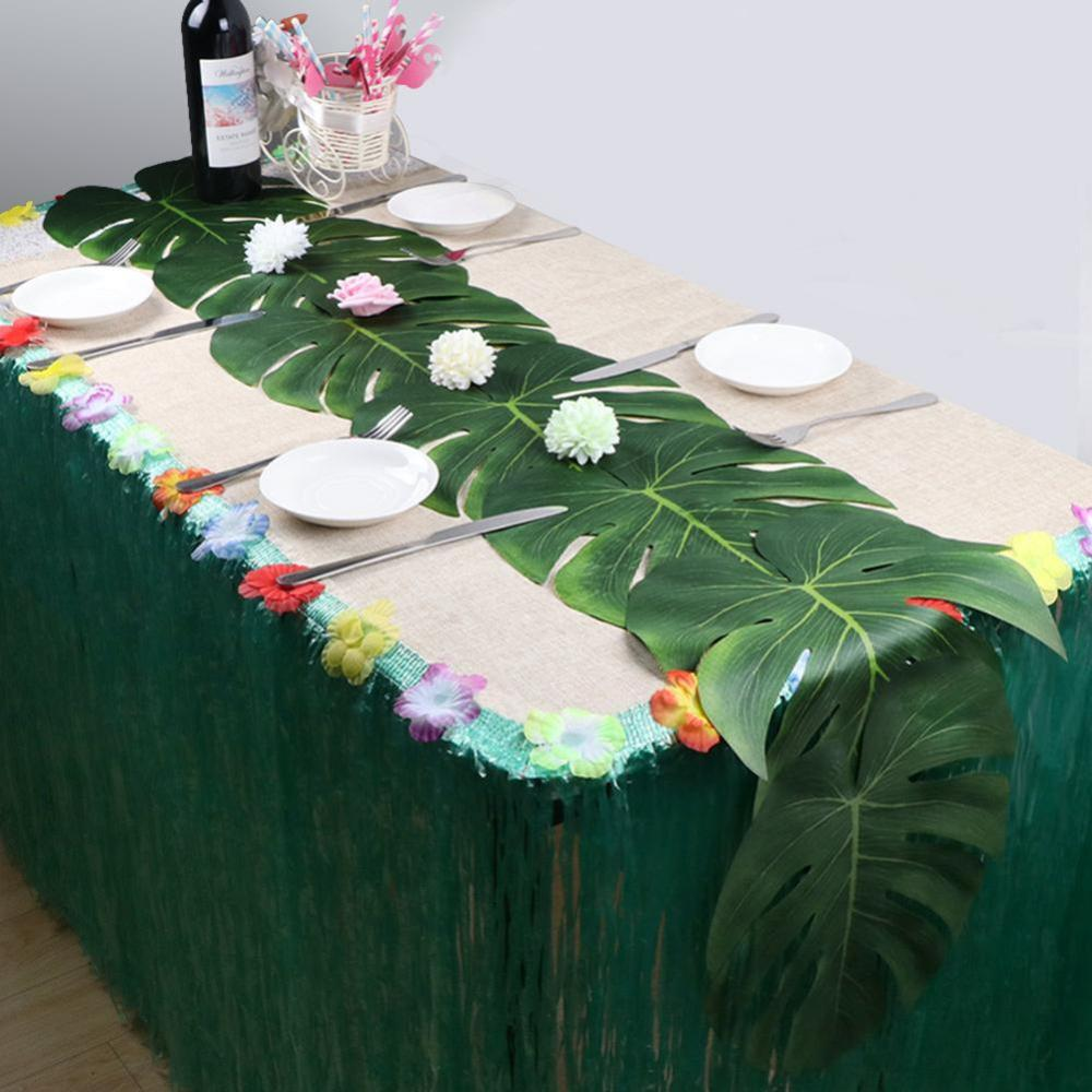 5pcs 35cm Hawaii Party Artificial Palm Leaves Fake Plant Table Mat Tableware Summer Tropical Wedding Party Table Decoration