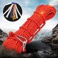 Ao ar livre 10 m/50 m corda de escalada segurança mosquetão auxiliar 10mm escape corda resgate incêndio para acampamento caminhadas escalada sobrevivência