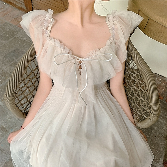 Women dress Actual Photo Of Long Sling Dress With Lace Sunscreen In Soft Yarn In Summer Of Piece Set Women Sleeveless Dress 5