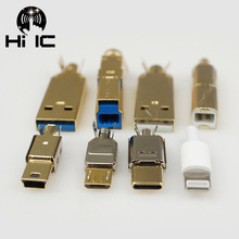 Позолоченный тип A Тип B Тип C USB A USB B USB3.0 B мини USB Mico USB коннектор разъем концевой разъем коннектор порт разъем