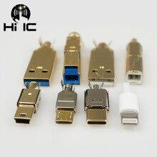 Pozłacane typ A typ B typ C USB A USB B USB3.0 B Mini USB Mico USB złącze Jack ogon Sockect złącze Sockect