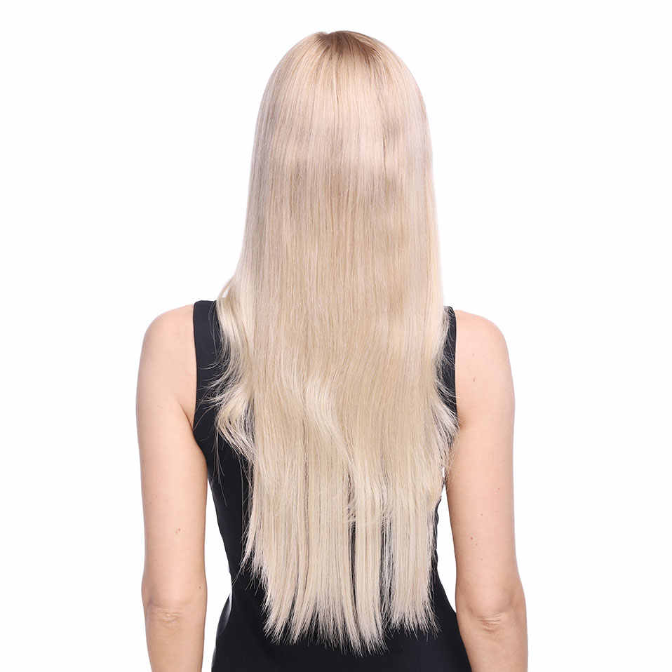 S-noilite 20 นิ้วลวดที่มองไม่เห็นไม่มีคลิป One Piece ส่วนต่อขยาย Halo Hair flip in False hair Hairpieces สังเคราะห์ผมผู้หญิง