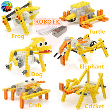Animal Electronic Building Blocks Educational Science Kits DIY Brick Toys Robotic Puppy Dog Elephant Crabs Model children gift cheap blocks electronic constructor building block designer kits for kids discover electronic science project circuit educatio