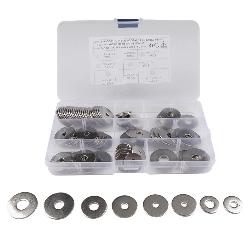 90Pcs Assorted Piece A2 Srainless Steel Penny Repair Washer M4 M5 M6 M8 M10 Kit