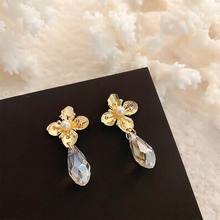 Fashion Crystal Metallic 4 Petals Flower Drop Earrings Women 2020 New Design Jewelry Pendientes