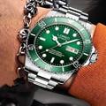 LOREO 200 м водонепроницаемые часы Submarin Роскошные Брендовые Часы Автоматические часы с двойным календарем сапфировые светящиеся спортивные ме...