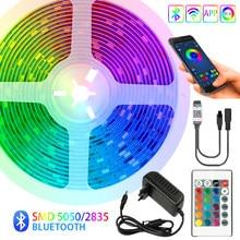 Tiras de led luz bluetooth tv iuces rgb 5050 smd 2835 lâmpada flexível à prova dwaterproof água fita fita diodo luz de fundo dc 12v 5m 10m 15m 20m