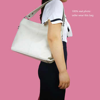 ZENCY Fast Shipping 100% Genuine Cow Leather Women Handbag First Layer Cowhide Long Handle Shoulder Bag White Silver Gray Bags