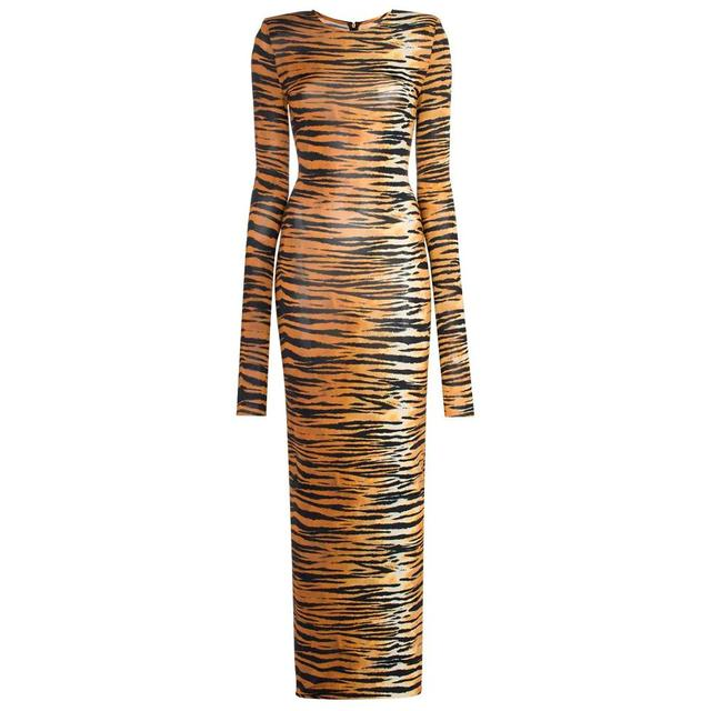 Kylie jenner Inspired Long Tiger Print Jersey Dress Brown and Black Printing Maxi Dress 3