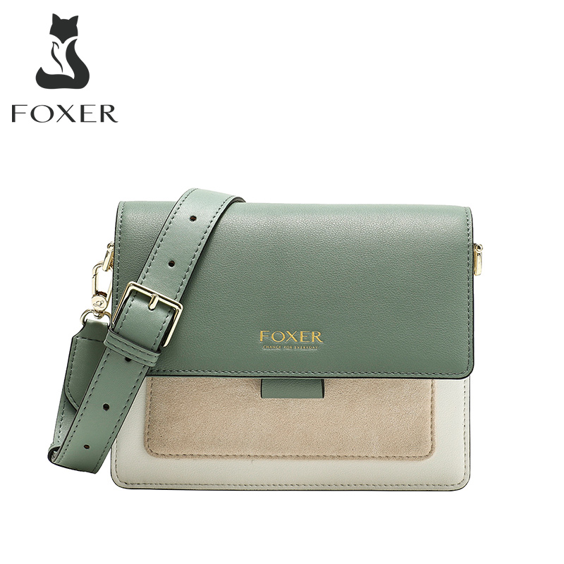 FOXER Women Crossbody Bag Avocado Green Shoulder Bags Mini Purse Lady Flap Bag Female Small Messenger Bag Female Present Gift