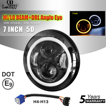 цена на CO LIGHT 50W 30W 7Inch LED Headlights Angle Eyes E9 Hi/Low Beam 7 Round Headlamp DRL for Motorcycle Lada 4x4 Urban Niva 12V 24V