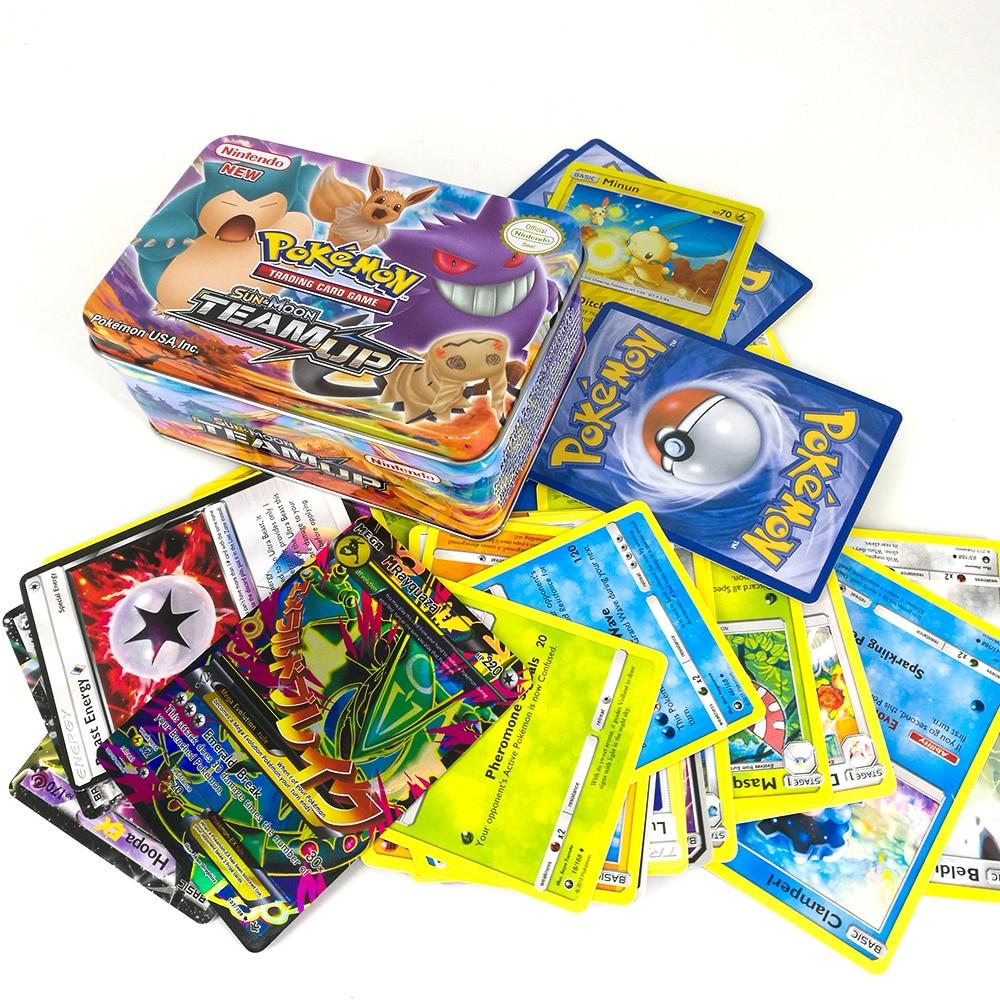 TAKARA TOMY PTCG Pokemon Card MEGA Trainer Energy SUN MOON TEAM UP Collection 42 Cards Flash Card Metal Box Toys For Kids