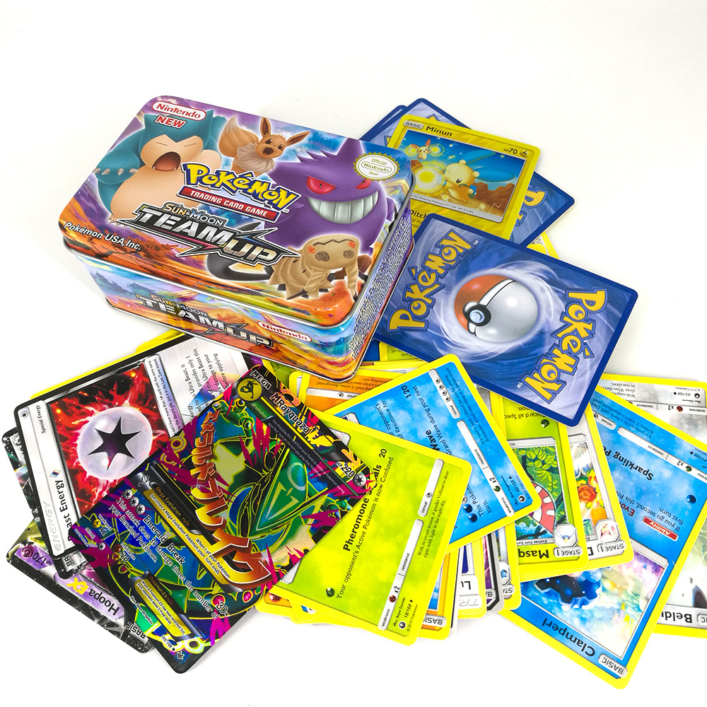TAKARA TOMY PTCG carte Pokemon méga formateur énergie soleil lune équipe Collection 42 cartes Flash carte métal boîte jouets pour enfants