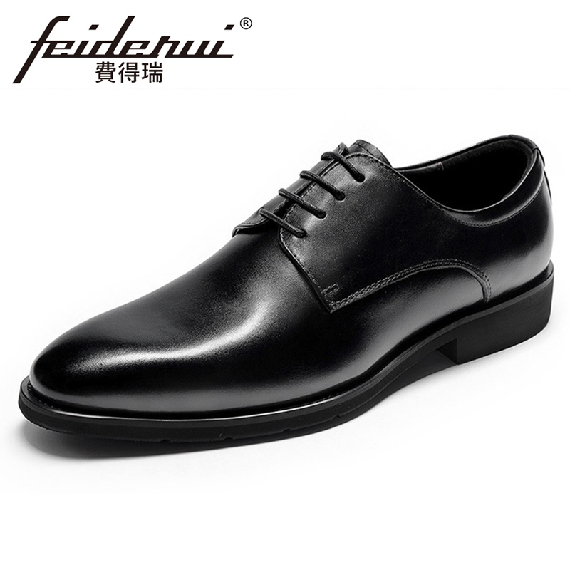 Italian Designer Genuine Leather Men's Formal Dress Flats Pointed Toe Laces Man Party Oxfords Handmade Derby Office Shoes FHS101