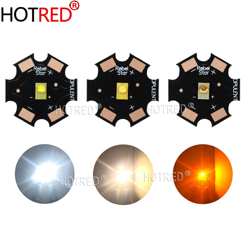 10PCS LUXEON Rebel ES 3W High Power LED Light Emitter Chip Diode White Warm White Yellow 3.2-3.4V 700mA 20mm PCB