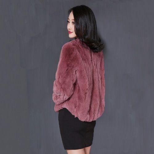 Femmes 2020 automne hiver 100% réel Rex manteau de fourrure de lapin femme o-cou Naturel fourrure de lapin veste 3/4 manches veste décontractée L382