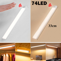 74 LEDs bajo luces Led para gabinetes de cocina de luz de la noche de 33cm inteligente 6 Led de la lámpara de pared con Sensor de dormitorio armario iluminación