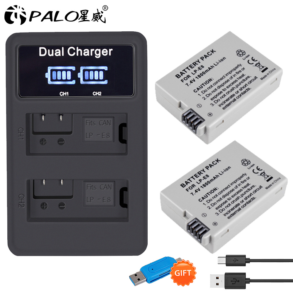 PALO 2Pcs LP-E8 LP E8 LPE8 1800mAh camera <font><b>Battery</b></font> + LED Dual Charger For <font><b>Canon</b></font> EOS 550D 600D <font><b>650D</b></font> 700D Rebel T2i T3i T4i T5i image