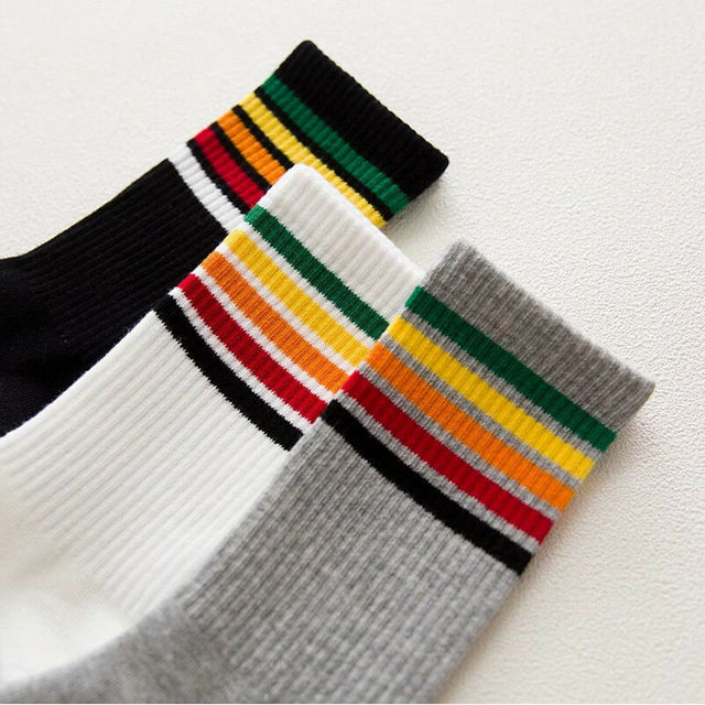 Rainbow Long Striped Socks Women High School Girls Funny Cotton Socks Hosiery Casual Sport Sock Harajuku Designer Sox