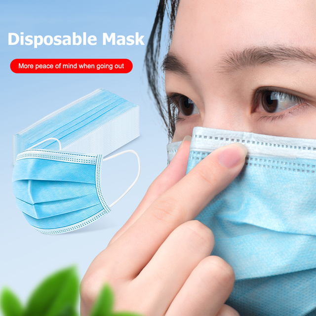 100PCS 3 layers Disposable Anti-Dust Mouth Mask Non Woven Anti dust Anti Bacteria formaldehyde Solid Color Mouth Face Masks 2