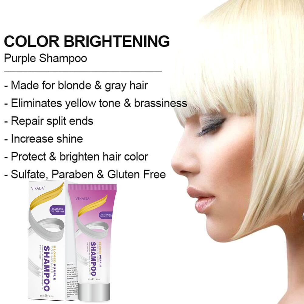 100ml Blonde Purple Hair Shampoo Removes Yellow And Gray Dye Shampoo Effective To Bleached Tones Blonde Hair Brassy Silver U3Q2 image