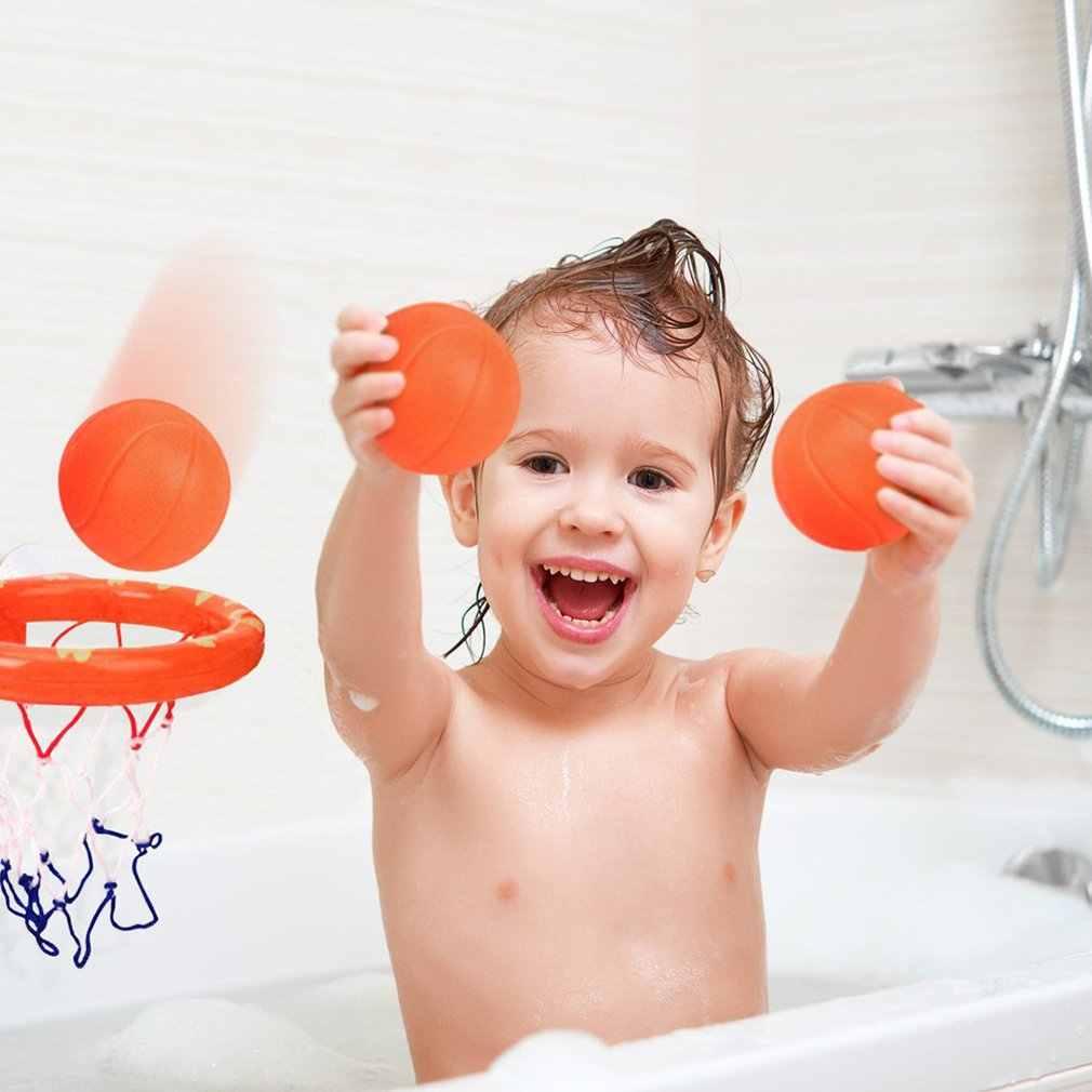 Zabawki do kąpieli dla niemowląt obręcz do koszykówki i zestaw 3 piłek dla małych dzieci z przyssawką chłopiec dziewczyna wanna basen strzelanie gra z piłkami