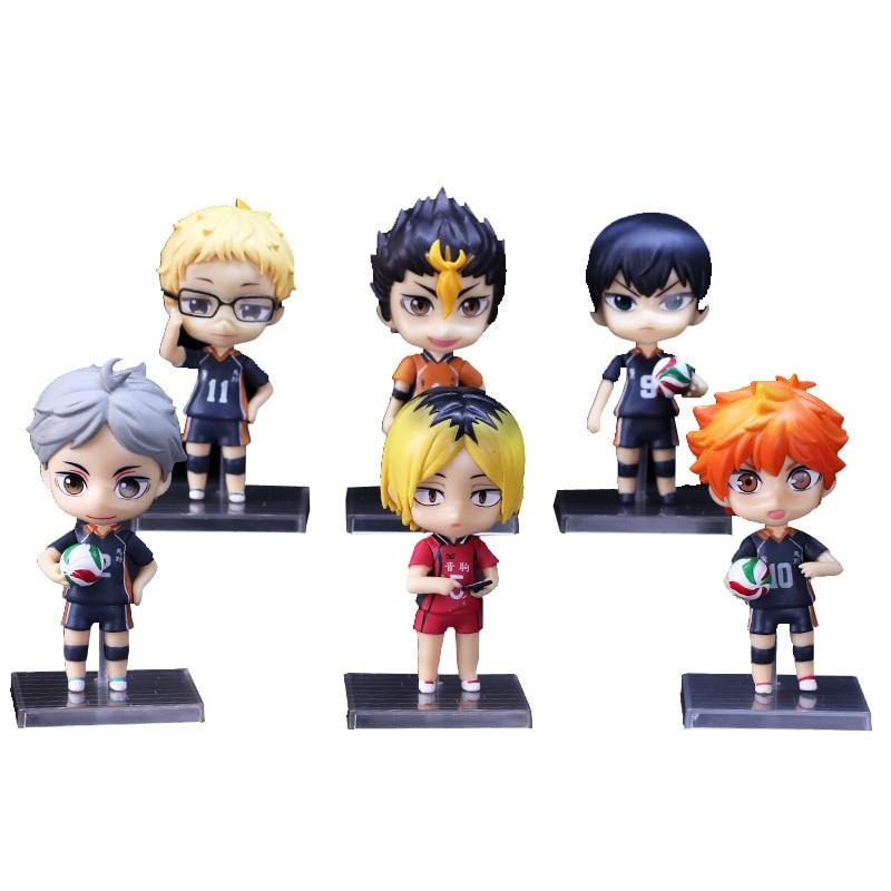 ¡Anime tee! Figuras 10cm 6 unids/lote Hinata Shoyo kageyama tobio PVC colección de figuras de acción Kozume Kenma modelo juguetes niños