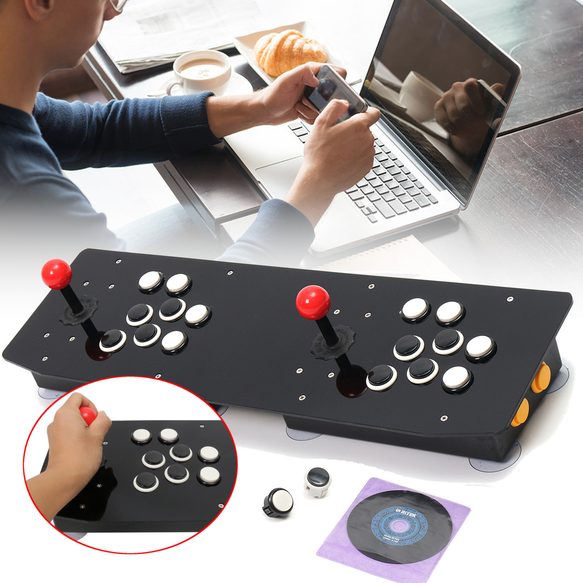 Double Arcade Stick Video Game Joystick Controller Console PC USB 2 Players Computer Video Game Machine Game Playing Accessories