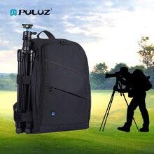 Puluz mochila fotográfica dslr, bolsa com tripé, câmera portátil, à prova d'água, para fotografia, reflexo preto, saco de vestuário