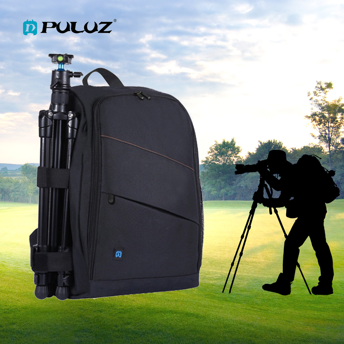 PULUZ Photo Backpack DSLR Bag Tripod Bag Outdoor Portable Waterproof Camera Photography Sac Appareil Reflex Black Sac appareil