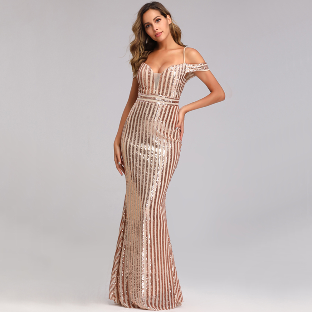 Sexy Sweetheart-neck Long Sequins Cocktail Dresses Backless Prom Party Dress Off The Shoulder Mermaid Formal Accation Dress