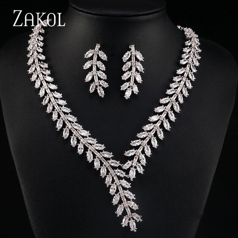 ZAKOL ekskluzywny! Biały kolor księżniczka ślubne zestaw biżuterii z AAA Cubic cyrkon dla kobiet wysokiej jakości biżuteria dla nowożeńców FSSP250 w Zestawy biżuterii od Biżuteria i akcesoria na  Grupa 1
