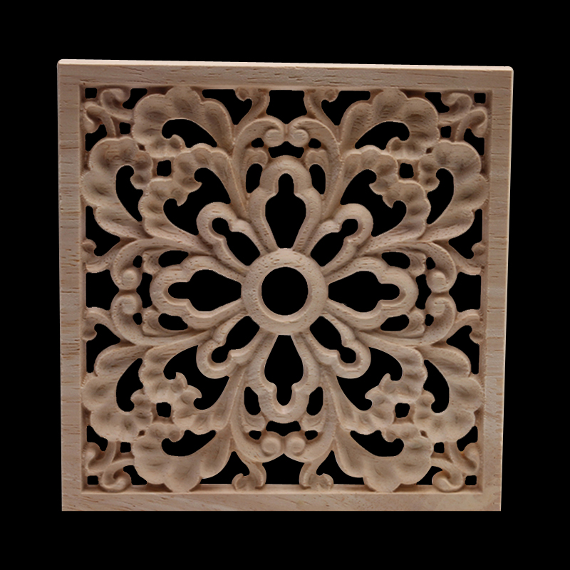Wood Applique Wood Mouldings Wood Craft Onlay European Decor Carved Natural Retro Long Leaves Floral Rose Wooden Doors Window