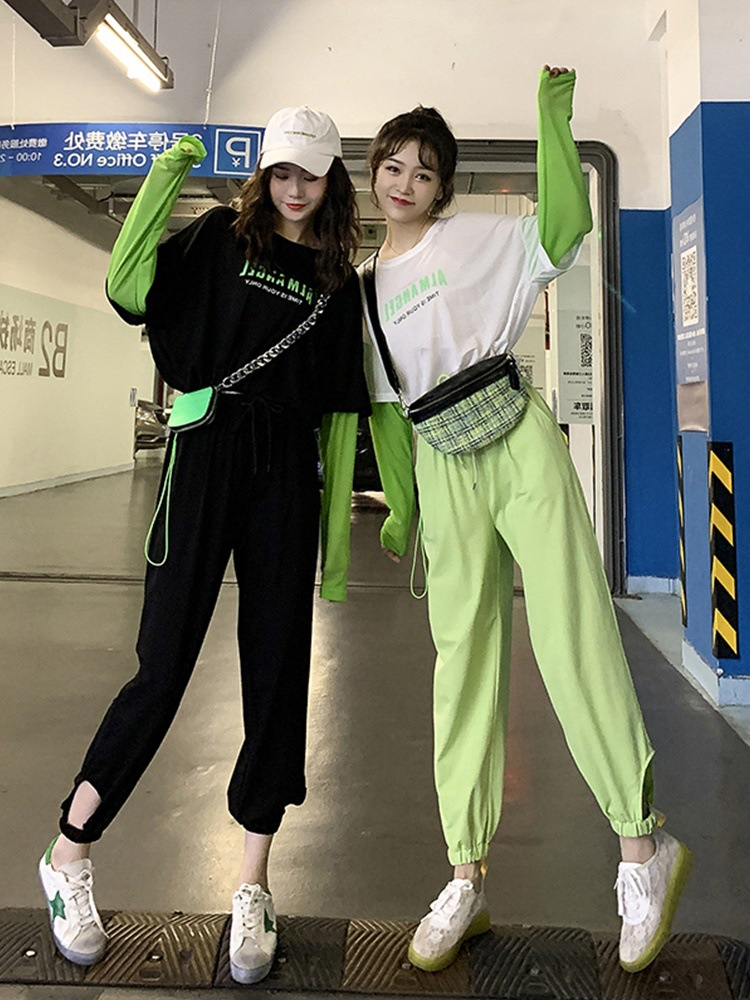 Street Snap Matcha Green Mock Two-Piece Long Sleeve T-shirt WOMEN'S Suit 2019 Autumn Clothing Western Style Korean-style Casual