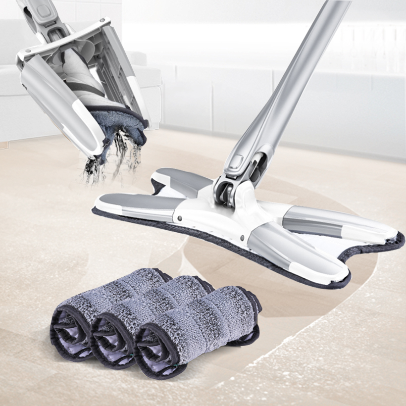 X-type Microfiber Floor Mop Self Wringing Microfiber Mops Cleaning Professional Manual Extrusion Household Cleaning Tools