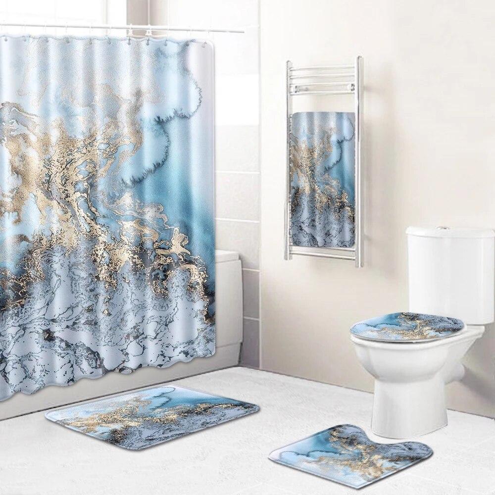 marble bathroom shower curtain bath towel mat five pieces set toilet chamber pot rug leaching mat cross border on behalf