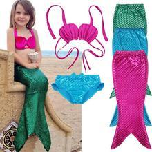 Необычный карнавальный костюм из 3 предметов для девочек, подарок на день рождения, праздник, хвост русалки, купальный комплект бикини, купальник, От 3 до 9 лет
