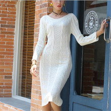 Autumn Winter Warm Sweater Dress Women Sexy Slim Bodycon Dress Female slash neck Long Sleeve Knitted Dress Vestidos black white elegant women dress slash neck sexy women dresses slim bodycon knitted cotton sweater dress women knee length vestidos pl2