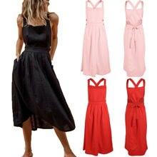 Goocheer Summer Womens Sleeveless Maxi Dress Solid Top Long Skirt Beach Sundress