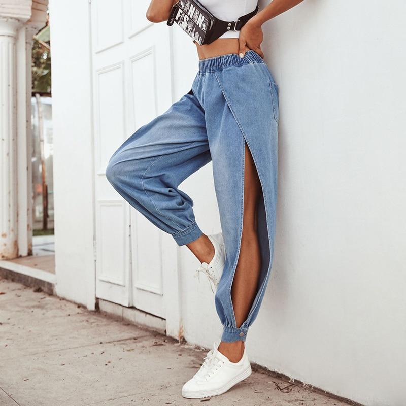 JYSS Autumn New Creative Denim Pants Women Blue Elastic Cargo Pants Long Split Straight Trousers Women Jeans 30061