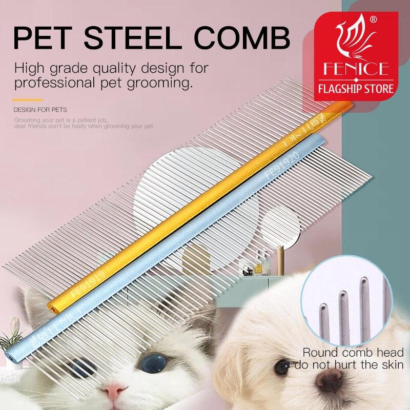 Fenice aço inoxidável grooming comb alumínio lidar com limpeza pente de cabelo para cães/gatos animais de estimação acessórios