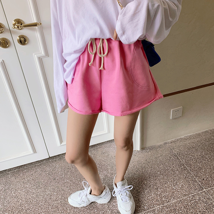 Gray Sports Shorts Female Summer 2020 New Terry Elastic Waist Casual Shorts Candy-colored Hot Pants Female