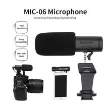 הקלטת מיקרופון 3.5mm אודיו תקע מצלמה מיקרופון נייד וידאו ראיון מיקרופון עבור Smartphone מצלמה